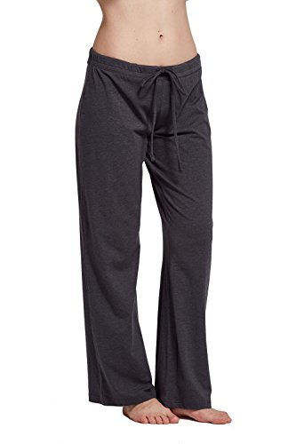 Lounge Bottom - CYZ Women's Basic Stretch Cotton Knit Pajama Sleep Lounge Pants-Charcoal-M