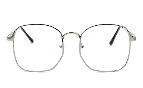 Nuni Wire Frame Nerd Bookworm Oversized Square Aviator Eyeglasses - Glasses Aviator Cheap