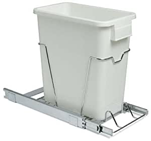 whitney design c9517 24 quart under sink pull out white trash can with chrome wire. Black Bedroom Furniture Sets. Home Design Ideas