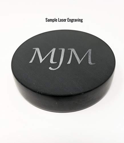 - Custom Laser Engraved Black Marble Round Paperweight