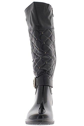 Botas de material bi de mujeres negro pequeño tacón 3.5 cm
