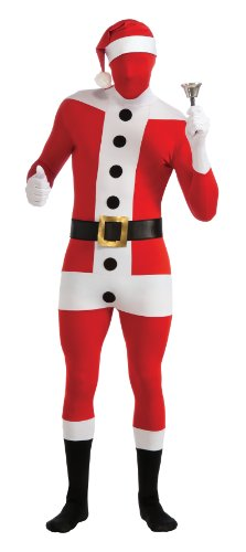 Santa Skin Suit (Rubie's 2nd Skin Santa Full Body Stretch Bodysuit, Red/White, Medium Costume)