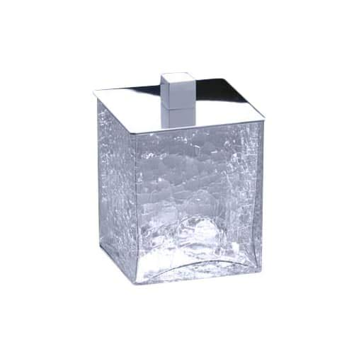 - Square Crackled Crystal Glass Cotton Ball Jar Finish: Satin Nickel