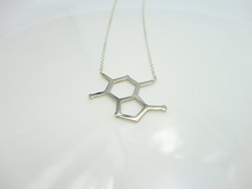 Chocolate Molecule Sterling Silver Charm Necklace, Chemistry Science Jewelry by Handmade Studio with 16.9 to 18.9 adjustable chain HM 9318