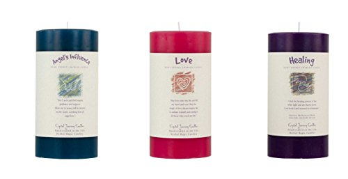 Crystal Journey Attract Love Reiki Charged Herbal Magic Pillar Candle with Inspirational Labels - Bundle of 3 (Angels's Influence, Love, Healing) Each 6