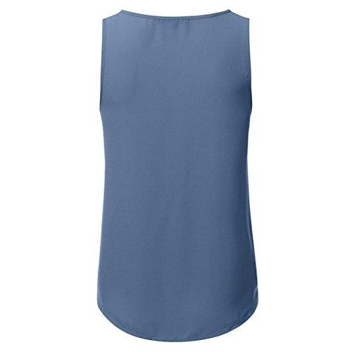 ❤️Femmes débardeur Zipper Bleu Casual Blouse Shirt manches Tefamore sans été T débardeur r0rxwqBF