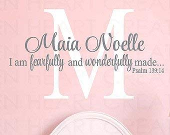 I am Fearfully and Wonderfully Made Wall Decal with Large Initial Monogram - Initial Wall Decal with Scripture Overlay I