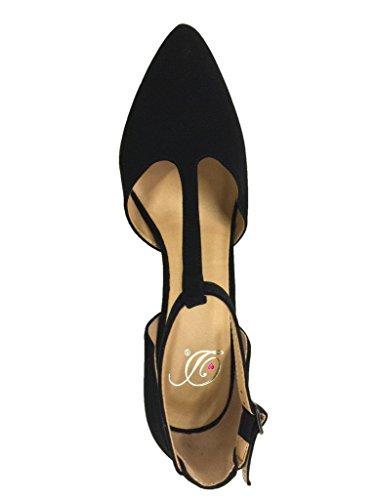 Las Mujeres Deliciosas Kolette T-strap Pointy-toed Bombas En Negro Nubuck Cuero Sintético Nubuck Negro Cuero Sintético