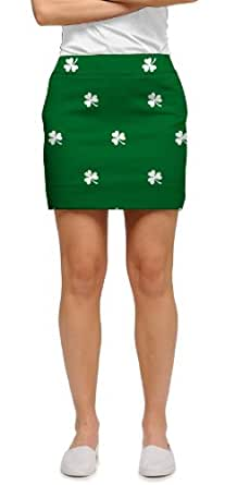 Loudmouth Golf Womens Skort: Embroidered White Shamrocks - Size 0