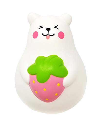 ibloom Slow Rising [Squishy Collection] Marshmallow Bear Mini Mr. White Smile Strawberry [Scented] Animal Squishy Kids Cute Adorable Doll Stress Relief Toy Decorative Props [Pink]