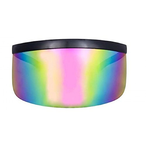 (MyUV Oversized Futuristic Shield Visor Sunglasses Flat Top Mirrored Mono Lens (Rainbow Mirror,)