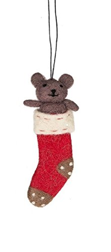 Holiday Ornament Felted Wool Plush Animal in Christmas Stockings - Gift Packaged in Gold Organza Drawstring Bag (Teddy Bear)