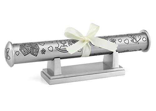 Mogoko Silver Plated Birth Certificate Scroll Holder with Stand and Gift Box for Children Kids