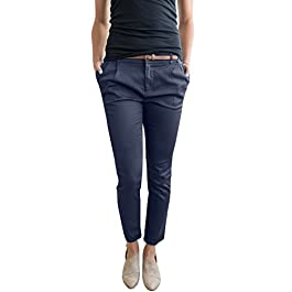 Chuanqi Womens Casual Straight Leg Cropped Ankle Comfortable Work Pants Pockets