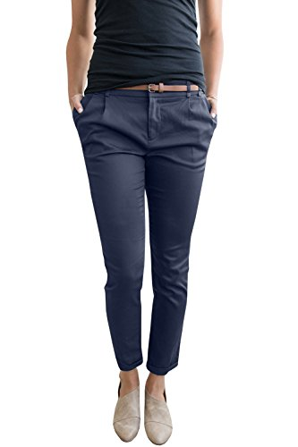 Chuanqi Womens Casual Straight Leg Cropped Ankle Comfortable Work Pants with Pockets Cropped Pocket
