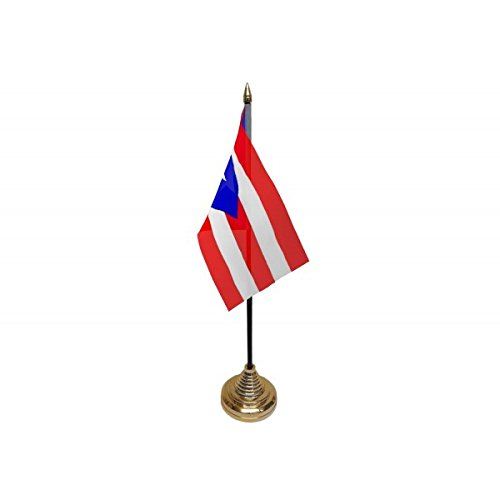 Pack Of 3 Puerto Rico Rican Desktop Table Centrepiece Flag Flags With Gold Bases Ideal For Party Conferences Office Display by UKFlagShop