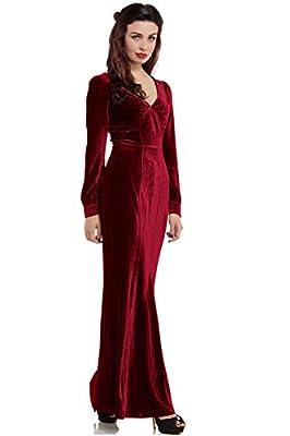 Voodoo Vixen Olive Maxi Embossed Velvet Red Prom Dress