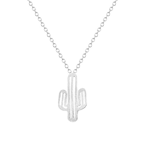 chengxun Trendy 1PC Attractive Gold/Silver Minimalist New Cute Charm Stylish Prickly Pear Cactus Necklace Pendant Fashion Gift Jewelry (White)