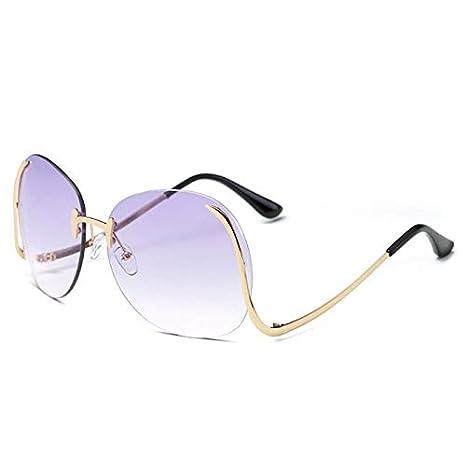 Fjiujin,Gafas de Sol Circulares sin Marco de Super Designer ...