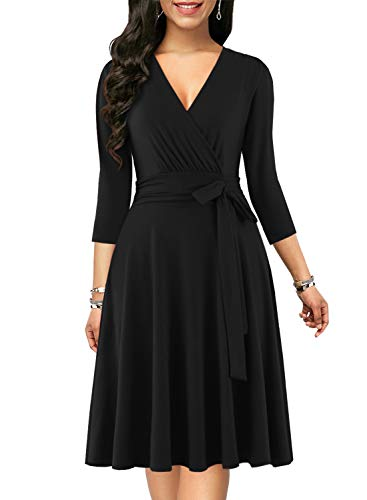 BOKALY Women's Black Cocktail Dress 3/4 Sleeve Chic Cute Tie Pleated Deep V Neck Fit and Flare Holiday Party Prom Swing Plus Size Dresses for Women Ladies (XL, BK118-Black 3/4 Sleeves)