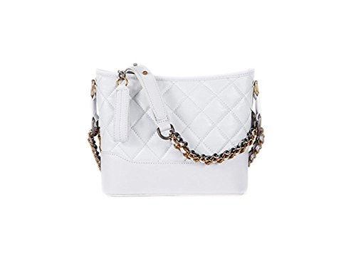 Lambskin Double Flap - Fashion Women Real Leather Cross Body Gold and Silver Chain Gabrielle Bag Double-use Quilted Purse (white)