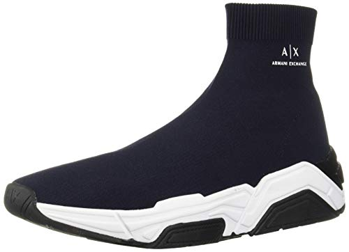 A|X Armani Exchange Men's Sock Boot Sneaker, Navy, 9 M US