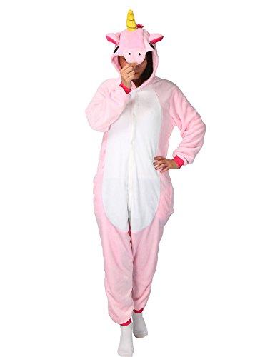Unicorn Costume, Adult Onesie Unicorn Cosplay Animal Pajamas Halloween Kigurumi Unisex (M (Height 62.8
