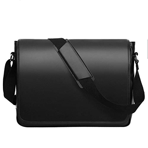Leathario Men's Leather Shoulder Bag 14inch Laptop Bag Messenger Bag Crossbody Bag Satchel Bag Black - Korchmar Leather Satchel