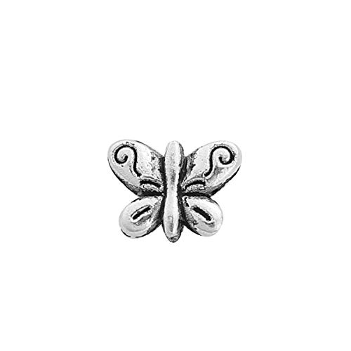 """PEPPERLONELY 50pc Antiqued Silver Alloy Butterfly Animal Charms Pendants 10mm x8mm(3/8"""" x 3/8"""")"""
