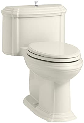 KOHLER K-3826-96 Portrait Comfort Height Compact Elongated 1.28 GPF Toilet with Aqua Piston Flush Technology and Lift Knob Actuator, Biscuit