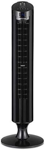 Acoolir Leise Klingenloser Turmventilator 8-Stunden-Timer mit 8 Geschwindigkeitsstufen 60cm-Oszillations- Standventilator mit Fernbedienung Tragbare Tischventilatoren f/ür Schlafzimmer-Wohnzimmer