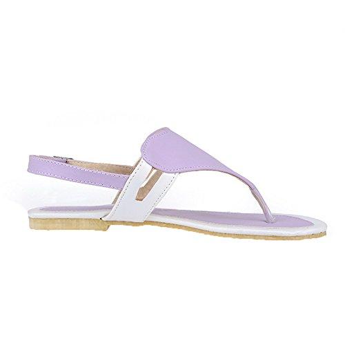 Split Heels Solid PU Purple Womens Sandals Low AalarDom Toe w5xI7q44Y