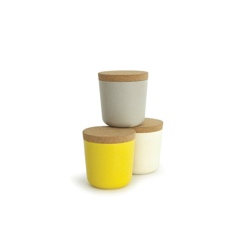 EKOBO Biobu 8 oz Gusto Storage Jar Set in Gift Box, Small, Stone/White/Lemon by EKOBO