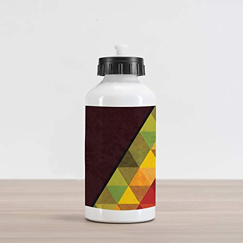 Lunarable Abstract Aluminum Water Bottle, Geometrical Triangular Polygons with Aged Grungy Look Stained Glass Style Mosaic, Aluminum Insulated Spill-Proof Travel Sports Water Bottle, ()