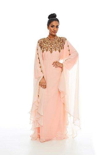 Covered Bliss Athena Antique Kaftan Peach Original Haute Couture Long Sleeves 100% Chiffon