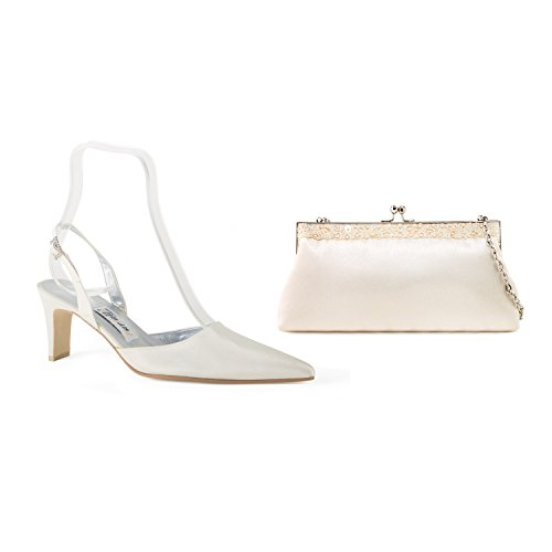 FARFALLA Satin Matching Slingbacks & Bag (Ivory, 5UK - 38EU)
