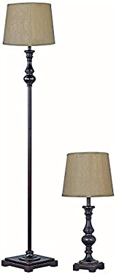 "Park Madison Lighting PMT-1815-20 Two Piece Table and Floor Lamp Set in Bronze Finish with Hand Crafted Shades, Table Lamp - 22 1/4"" Tall, Floor Lamp - 60"" Tall"