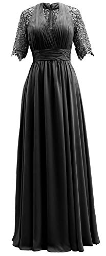 Dress Mother Black Sleeves The Evening Of Lace Women Formal Bride Macloth Short Gown 3Ajq4R5L