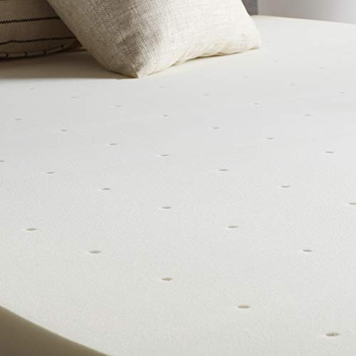 LUCID 2 Inch Traditional Foam Mattress Topper-Ventilated - Queen, Ivory ()