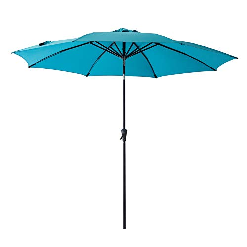 C-Hopetree 10' Outdoor Patio Umbrella Market Style with Aluminum Pole and Tilt for Outside Table Garden Shade or Deck, Aqua Blue