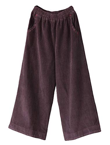 Minibee Women's Casual Wide Leg Pants Elastic Waist Cotton Cropped Corduroy Trousers with Pockets Brown Purple