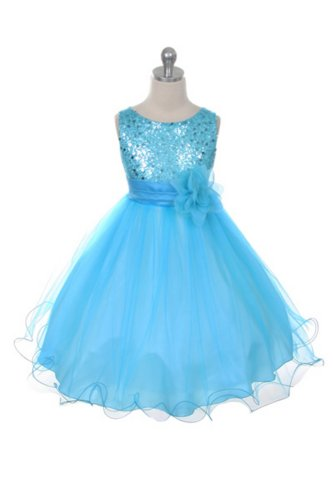 Flower Girl Dress - Aqua Sequin Double Mesh Special Occasion Dress (4)
