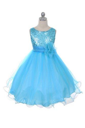 Flower Girl Dress - Aqua Sequin Double Mesh Special Occasion Dress (4)