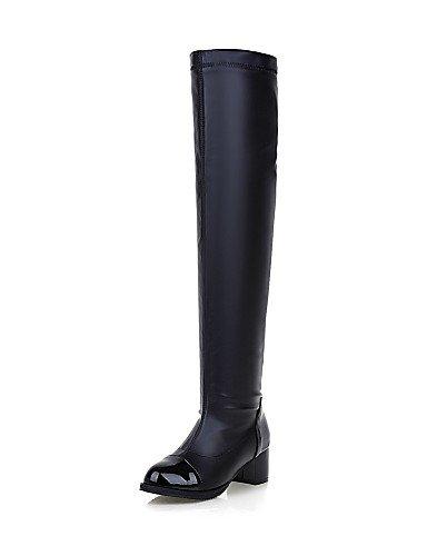 XZZ  Damenschuhe - Stiefel - Büro     Kleid   Lässig - Lackleder - Blockabsatz - Rundeschuh   Geschlossene Zehe - Schwarz   Weiß 6fa89e
