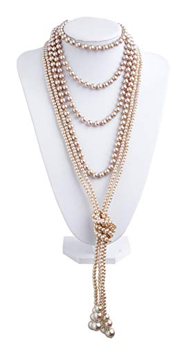 1920s Pearls Necklace Fashion Faux Pearls Gatsby Accessories Vintage Costume Jewelry Cream Long Necklace for Women (B-A-Knot Pearl Necklace2 + 59