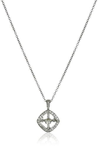 Sterling Silver and Diamond Cushion Dancing Pendant Necklace (1/5cttw, I-J Color, I3 Clarity), 18""