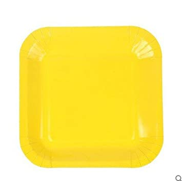 Candy color Diy creative Colored paper plates 7 inch disposable Rectangular plate Wedding Birthday Festival Party  sc 1 st  Amazon.com & Amazon.com: Candy color Diy creative Colored paper plates 7 inch ...