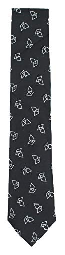 Sean John Mens Silk Printed Neck Tie (Geometric Shapes,Black)