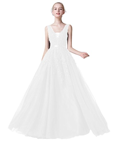 Women Tulle Dresses Prom Bridal White Lace Sexy Long Backless s Train BessWedding 7wOxqtSd7