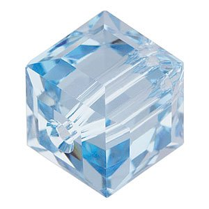 5601 6mm Aquamarine Swarovski Crystal Cube Bead - Independence Day - Fourth of July Jewelry Making